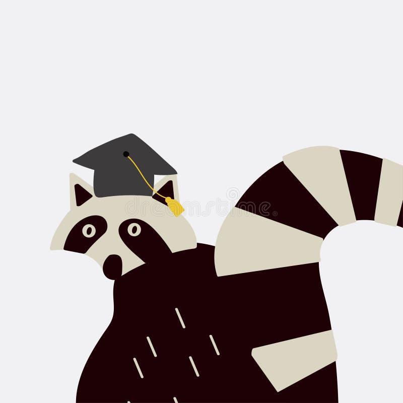 Mapache elegante que lleva un vector del sombrero de la graduación stock de ilustración