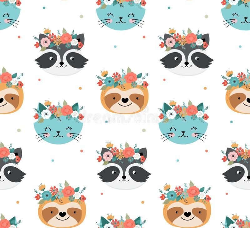 Mapache, gato y cabezas lindos con la corona de la flor, diseño inconsútil de la pereza del modelo del vector para el cuarto de n ilustración del vector