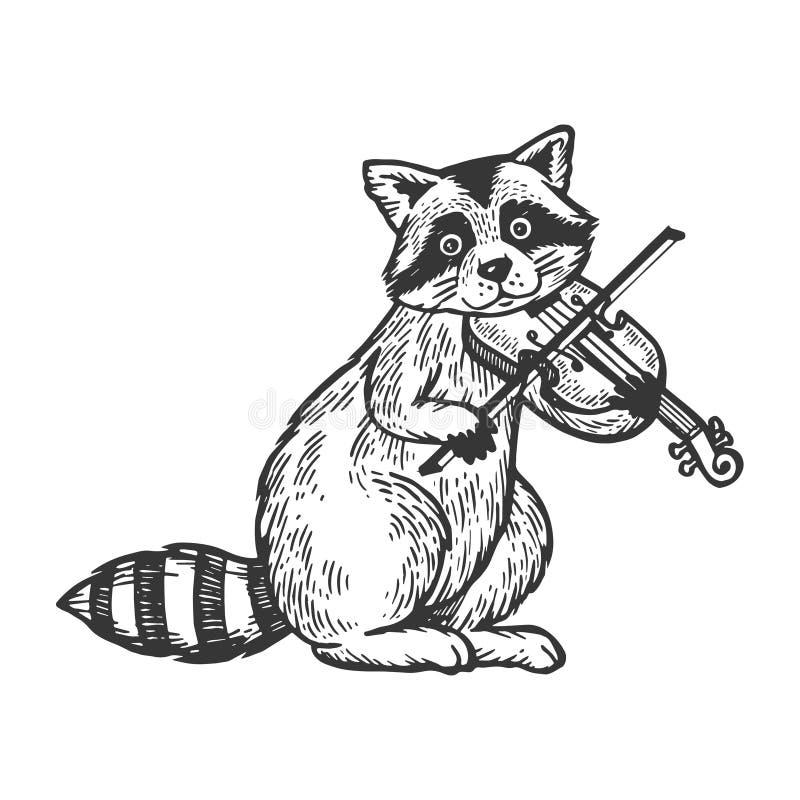 Mapache que juega vector del grabado del violín libre illustration