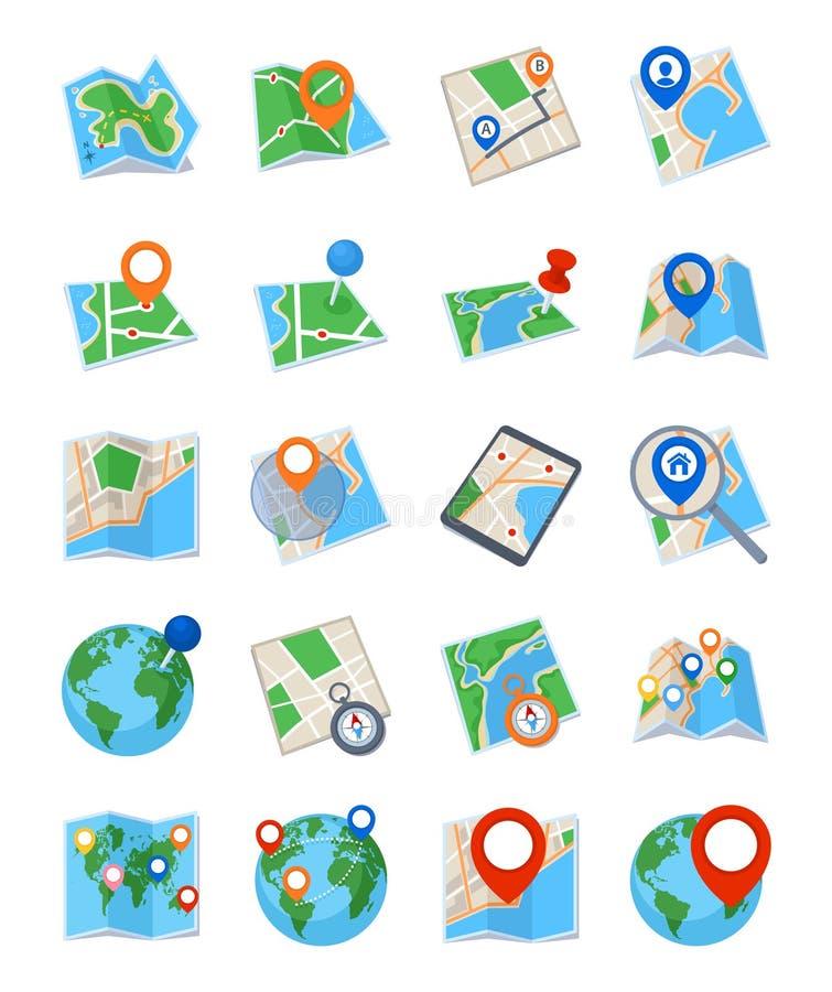 Mapas & ícones da navegação - grupo 2 ilustração stock