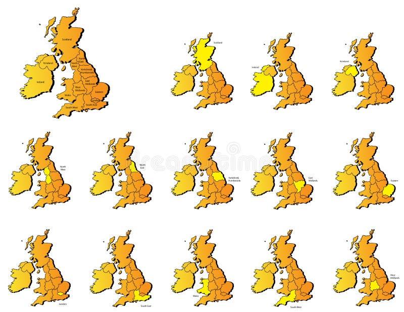 Mapas britânicos das províncias ilustração do vetor