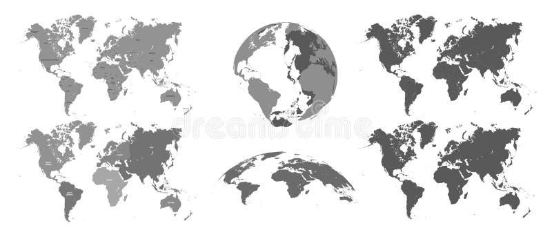 Mapas cinzentos do mundo Atlas do mapa, topografia da terra que traça o grupo isolado vetor da ilustração da silhueta ilustração stock