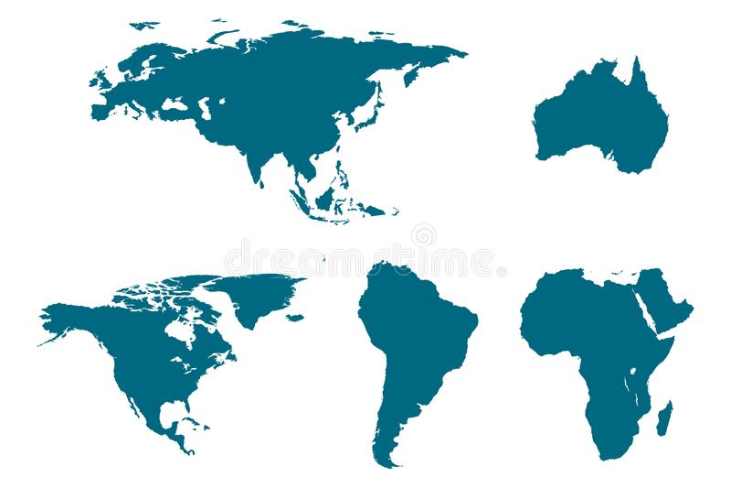 Mapas continentes fijados stock de ilustración