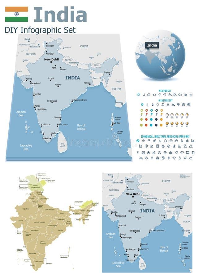 Mapas da Índia com marcadores ilustração do vetor