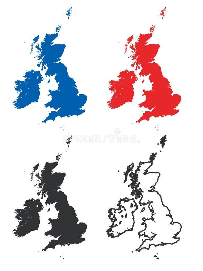 Mapas da Grâ Bretanha e da Irlanda ilustração royalty free