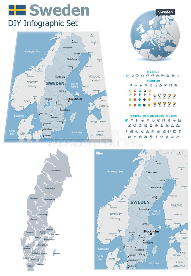 Mapas da Suécia com marcadores ilustração do vetor