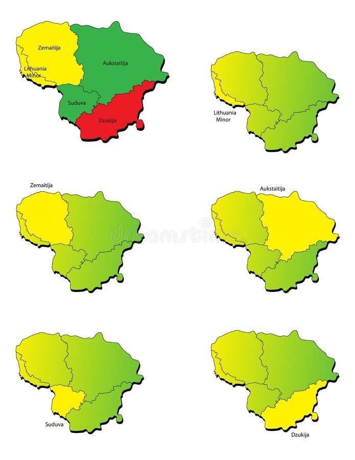 Mapas das províncias de Lituânia ilustração do vetor