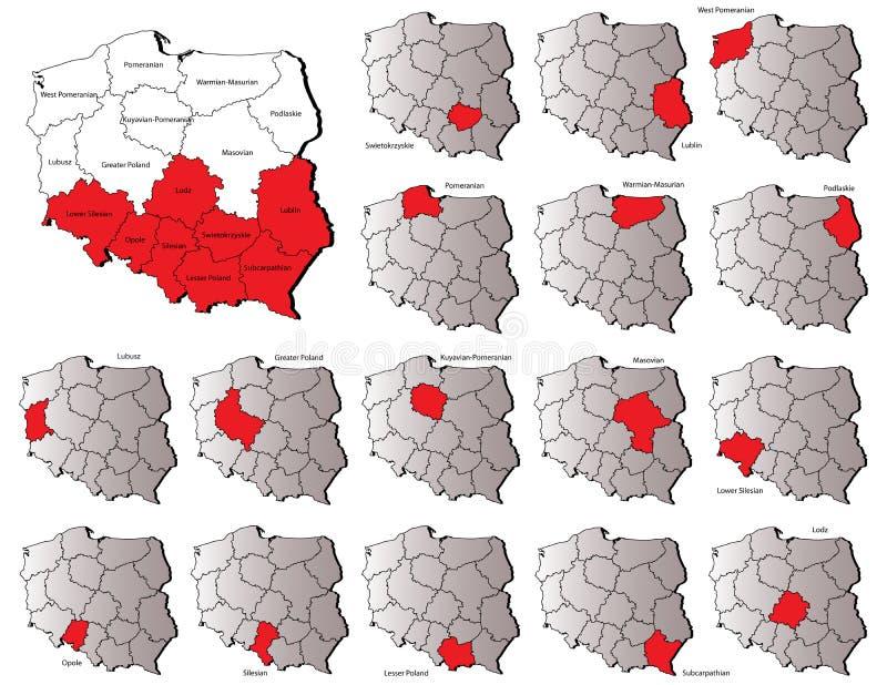 Mapas das províncias do Polônia ilustração royalty free