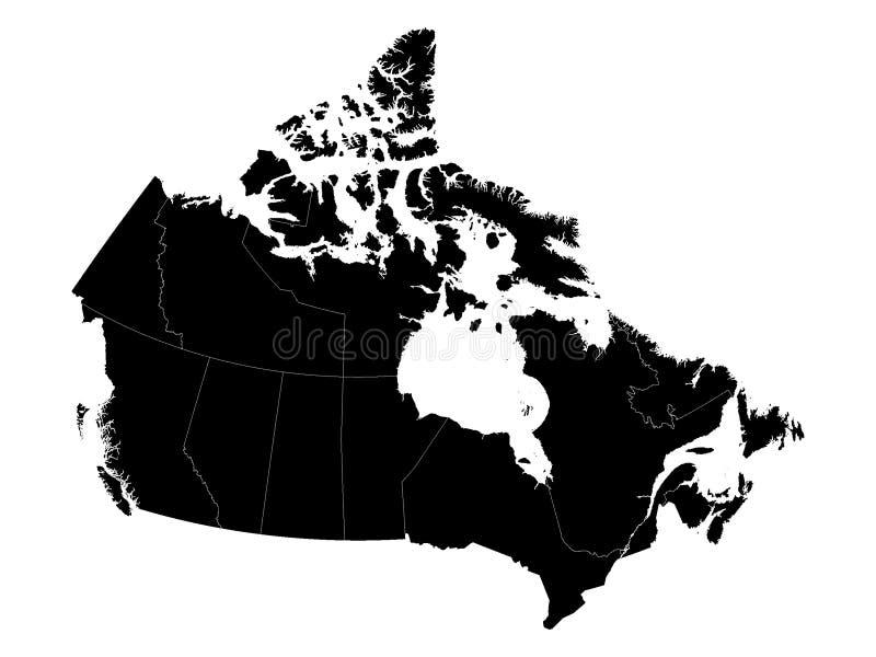 Mapas de Canadá com províncias ilustração royalty free