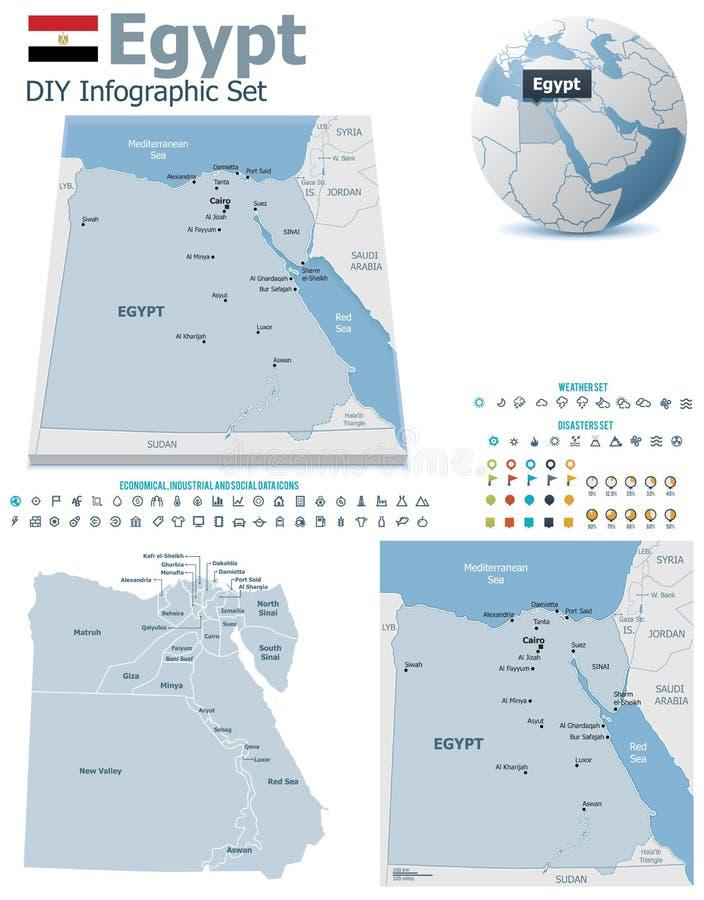 Mapas de Egito com marcadores ilustração do vetor