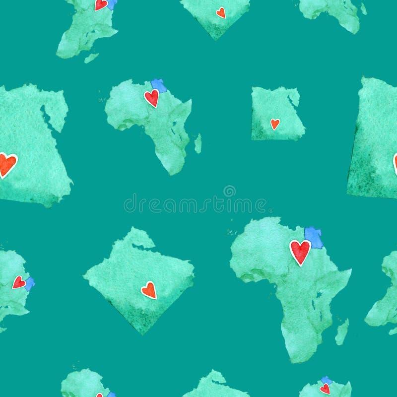 Mapas de Egito e de África no teste padrão sem emenda em um backg esmeralda ilustração stock