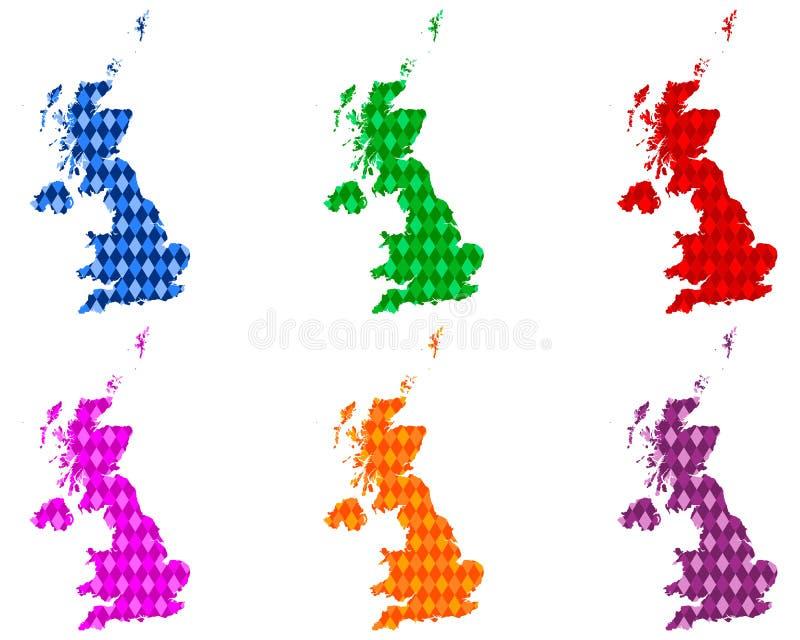 Mapas de Grâ Bretanha com rombos coloridos ilustração royalty free