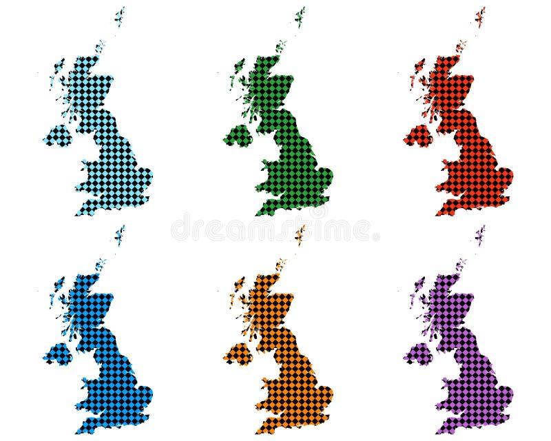 Mapas de Grâ Bretanha com rombos pequenos ilustração stock