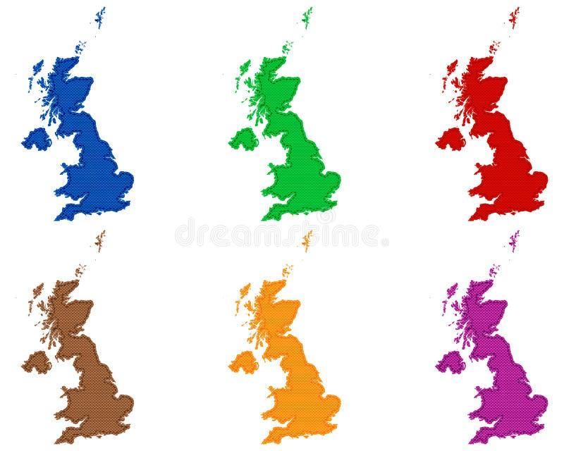 Mapas de Grâ Bretanha no pano com pontos ilustração stock