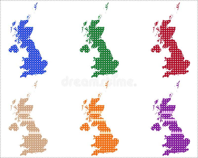 Mapas de Grâ Bretanha nos círculos ilustração do vetor