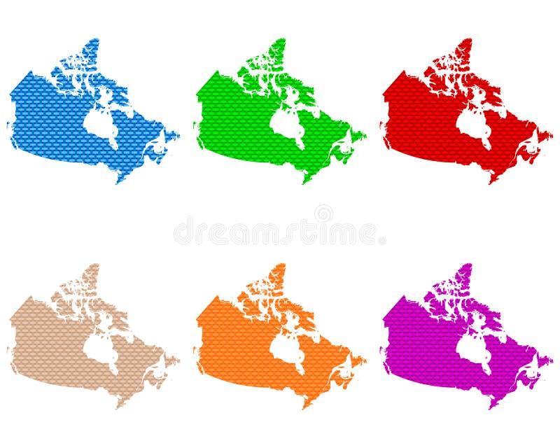 Mapas de grosseiro de Canadá engrenado ilustração stock