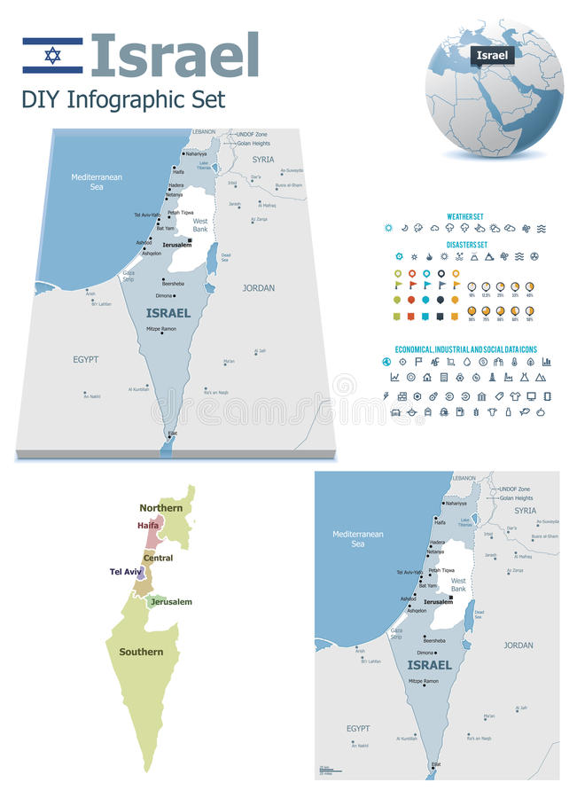 Mapas de Israel com marcadores ilustração do vetor
