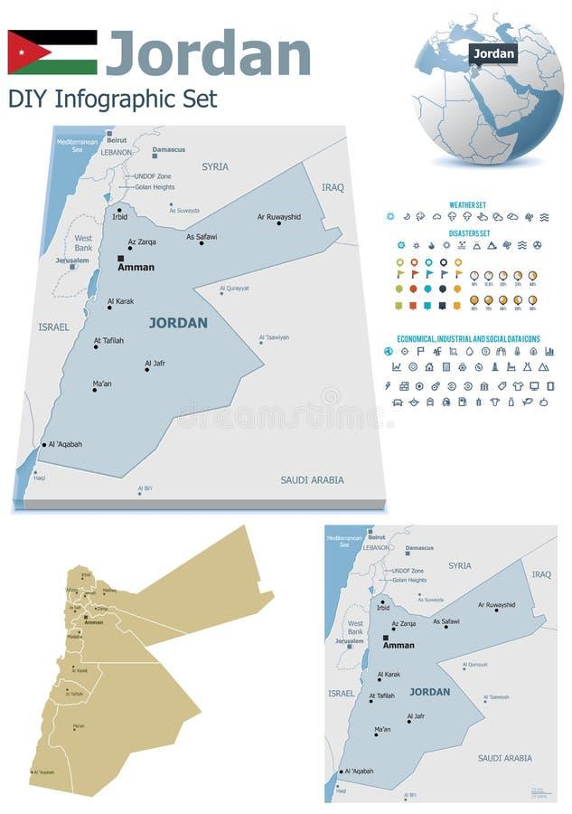 Mapas de Jordânia com marcadores ilustração stock