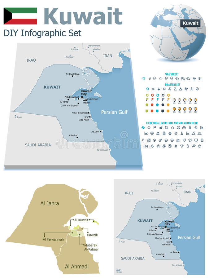 Mapas de Kuwait com marcadores ilustração stock