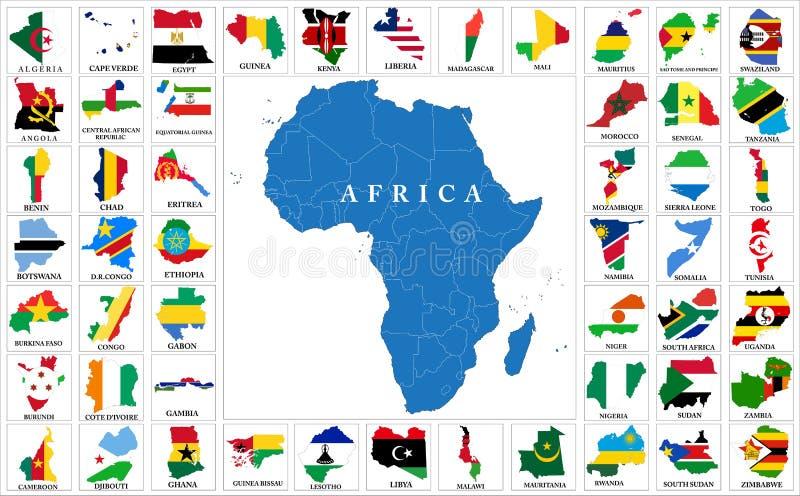 Mapas de la bandera de países de África stock de ilustración
