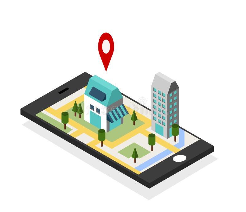 Mapas de la navegación GPS en concepto del teléfono móvil libre illustration