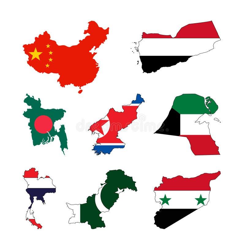 Mapas de los países asiáticos con las banderas ilustración del vector