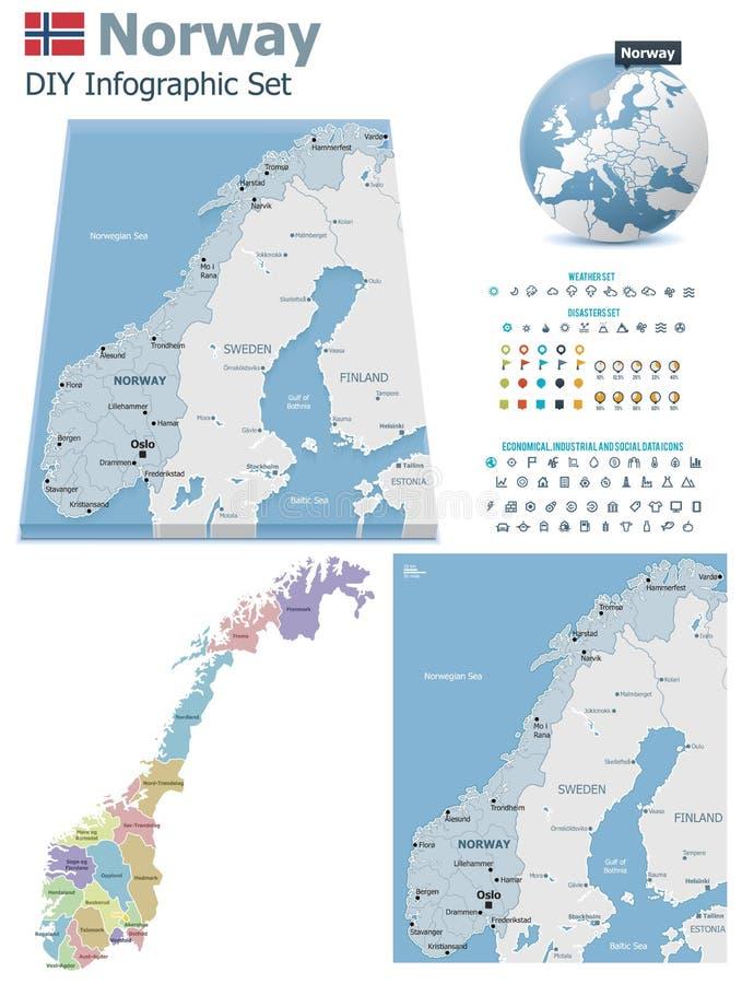 Mapas de Noruega com marcadores ilustração royalty free