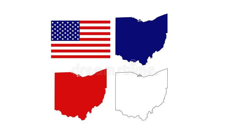 Mapas de Ohio com bandeira dos EUA - estado Midwestern na região dos grandes lagos do Estados Unidos ilustração royalty free