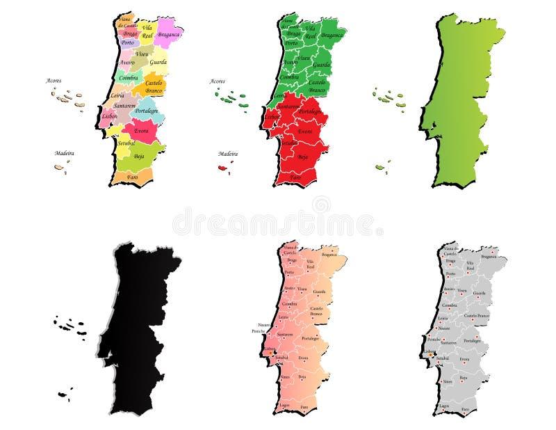 Mapas de Portugal ilustración del vector