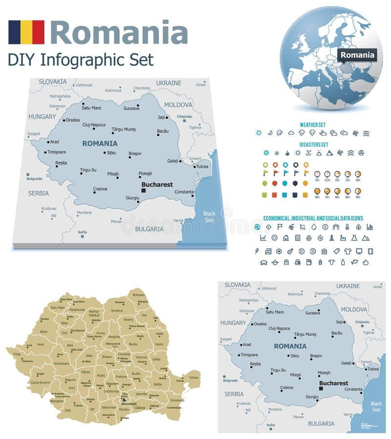 Mapas de Roménia com marcadores ilustração royalty free