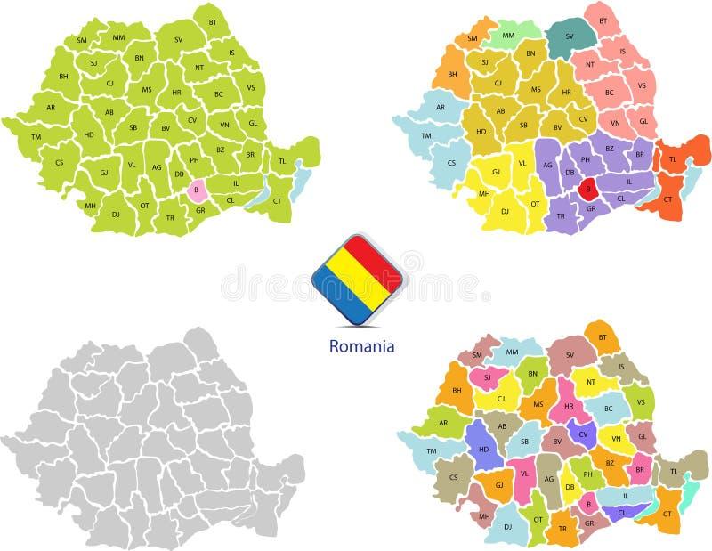 Mapas 1 de Rumania stock de ilustración