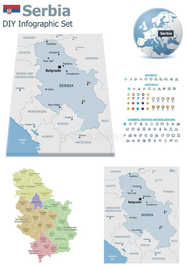 Mapas de Serbia con los marcadores stock de ilustración