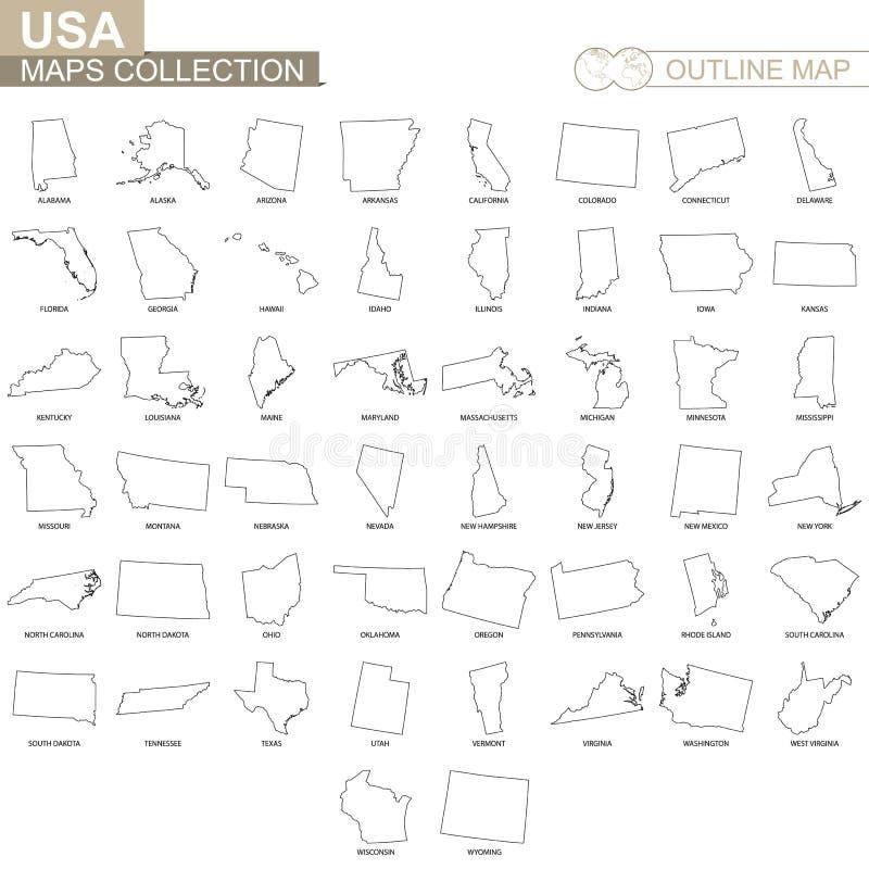 Mapas del esquema de la colección de los estados de los E.E.U.U. stock de ilustración