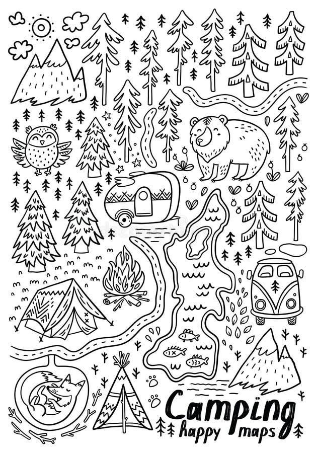 Mapas dibujados mano del vector Impresión para acampar y las actividades al aire libre en contorno stock de ilustración