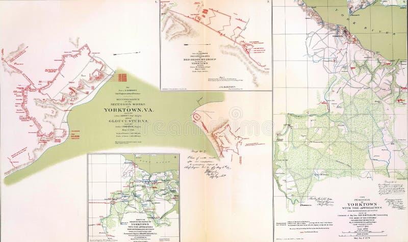 Mapas do campo de batalha e do cerco de Yorktown fotos de stock royalty free