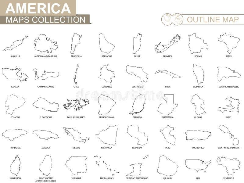 Mapas do esboço da coleção americana dos países ilustração royalty free