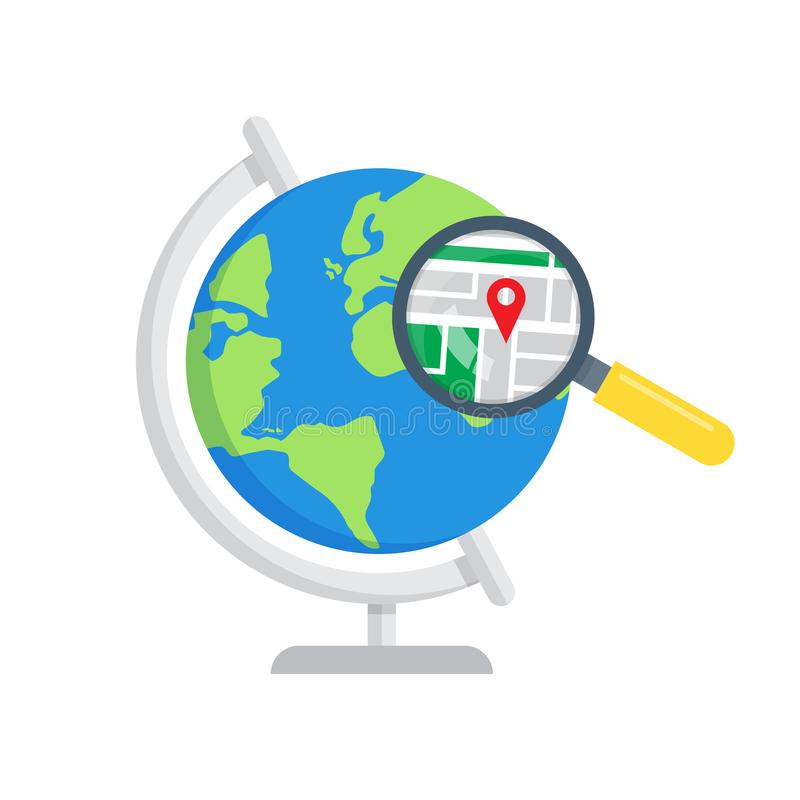 Mapas do local da busca Ícone global da busca ilustração stock