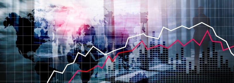 Mapas do Mundo Análise Financeira Recessão Conceito econômico foto de stock
