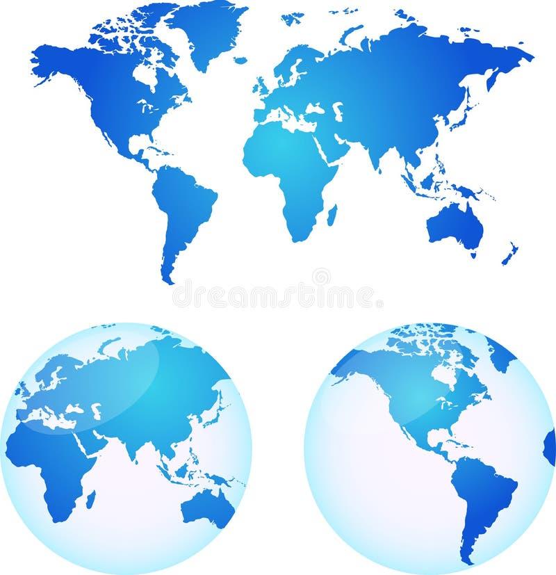 Mapas do vetor da terra ilustração stock