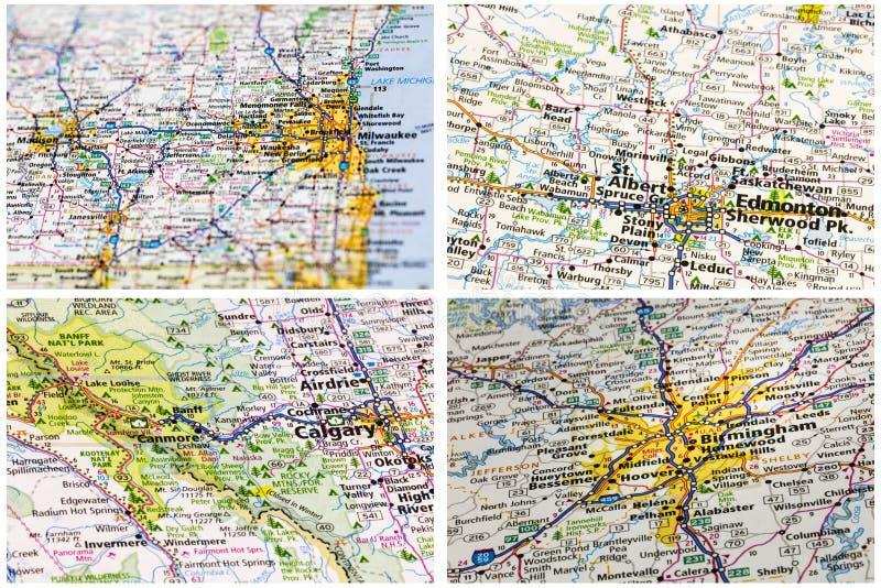 Mapas escénicos americanos de los viajes foto de archivo