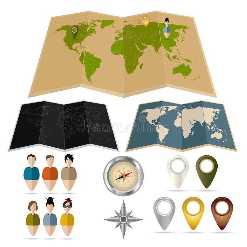 Mapas, etiquetas, compases y etiquetas con la gente fotografía de archivo libre de regalías