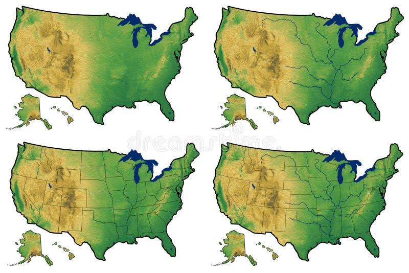 Cuatro versiones del mapa físico de Estados Unidos stock de ilustración