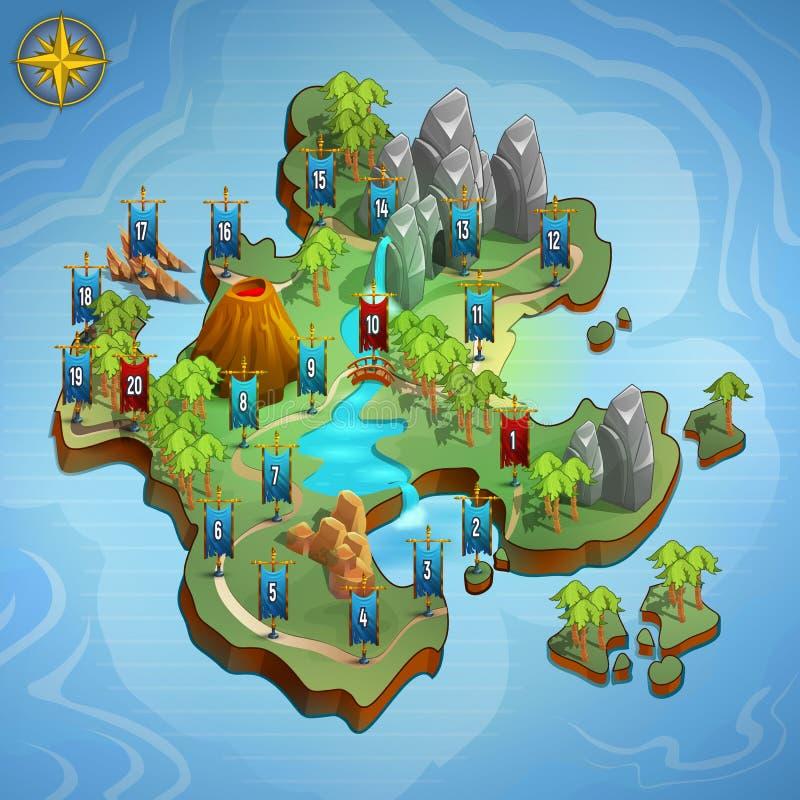 Mapas llanos para el juego Interfaz de usuario del ejemplo del juego ilustración del vector
