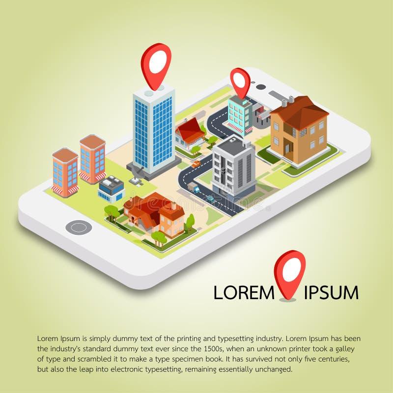 Mapas móveis isométricos lisos da navegação de 3d GPS ilustração do vetor