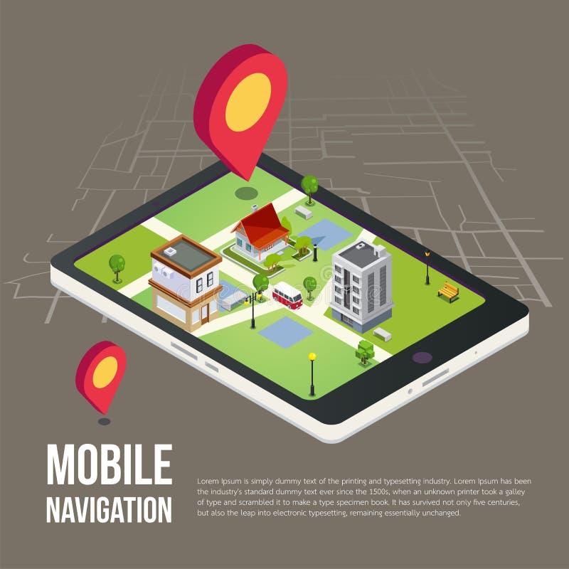 Mapas móviles isométricos planos de la navegación GPS 3d ilustración del vector