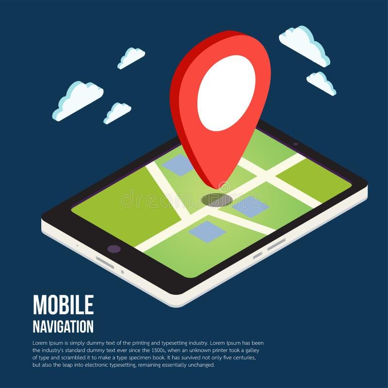 Mapas móviles isométricos planos de la navegación GPS 3d libre illustration
