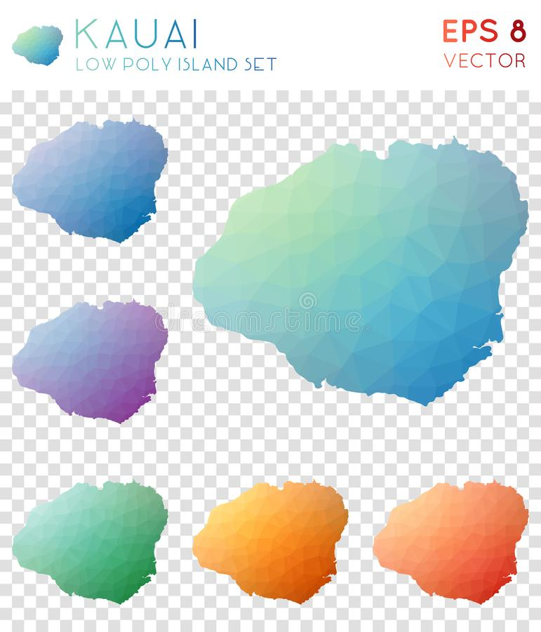 Mapas poligonales geométricos de Kauai, estilo del mosaico libre illustration