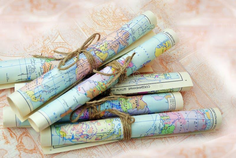Mapas rodados viejos imagen de archivo libre de regalías