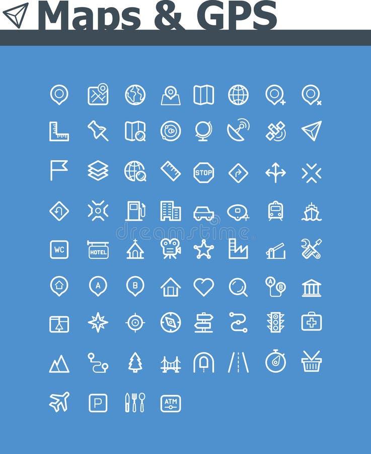 Mapas y sistema del icono de la navegación stock de ilustración