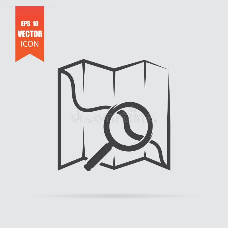 Mapear com ícone de ampliador em estilo plano isolado em plano de fundo cinza ilustração do vetor